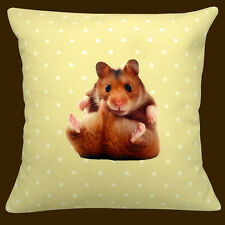 "Hamster Cushion (Including Insert Pad) 12x12"" 30cm Animal Yellow White Polka Dot"