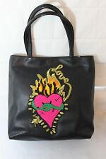 Betsey Johnson In A Patch Tote Black Purse Bag Heart Love Tattoo MSRP $108 NEW