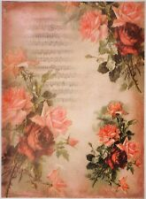 Printed Translucent / Vellum Scrapbook  Paper A/4 - Red Rose  and Note
