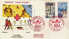 FRANCE FDC - 910 1828 1829 4 CROIX ROUGE PAU 30 11 1974 - LUXE CHAT