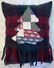 Handmade Wool Tree Pillow Vintage Wool Scarf Christmas Cabin Red Navy Cream