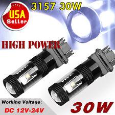 2x Cool White 3157 3156 High Power 30W LED Tail Brake Turn Signal Light Bulbs
