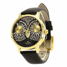 Kate Spade Women's Black Metro Gold Tone Owl Embelished Dial Leather Band Watch