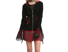 GOTHIC TRIPP NYC RED AND BLACK BELL SLEEVE LACE BACK CORSET HOODIE COAT SWEATER