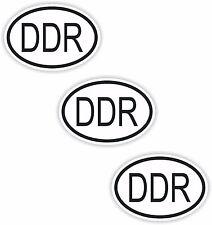 3x Noir & Blanc Ovale Autocollants DDR Petit code pays voiture Ordinateur Portable Pare-chocs Tablette
