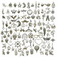 100pcs/lot Random Mixed Tibetan Silver Charms Pendants For DIY Jewelry Making