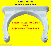 "Roll Control PVC 11"" Track Bar w/ Adjustable Scuba Tank Racks dive rack holder"