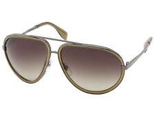 Alexander McQueen AMQ 4198 Sunglasses Dark Ruthenium Khaki MSRP $502.00