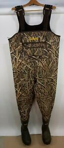 Cabelas Camo Hunting Chest Waders Mens 11 R Camouflage Neoprene Mossy Oak Blades