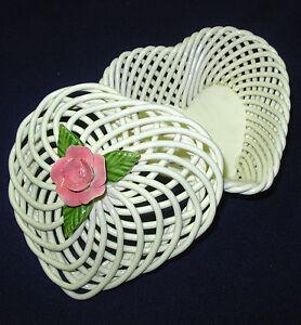 vtg Levante Porcelain Heart Trinket Box handmade USA white lattice pink rose