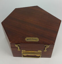 Stanley London Vtg Compass Presentation Display Wood Wooden Box 6 Sided Brass