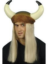 Viking Helemet Mens Browns Viking Hat With Hair Fancy Dress Accessory