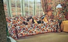 VINTAGE SOFA COUCH COVER NEW OLD STOCK 1960'S LARGE FLORAL GREENS RETRO MOD