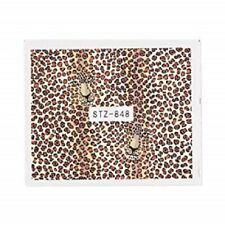 Nail Art Water Decals Stickers Transfers Brown Leopard Animal Print Tiger STZ848