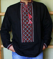 "Ukrainian Men/'s shirt /""Vortex/"" with real cross-stitch embroidery on blue linen"