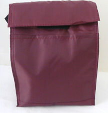 Reusable INSULATED LUNCH BAG - SOLID BURGUNDY - Tab Closure - Front Pocket