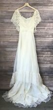 Vintage Boho Off The Shoulder Lace Train Wedding Dress Sz 6 Usa Union
