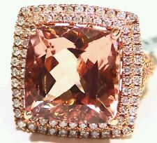 20.32CT 14K Gold Natural Morganite White Diamond Vintage Engagement Ring Jewelry