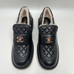 Chanel 2021 Black Quilted Flap Turnlock CC Logo 37 EUR Size Shearling Loafer
