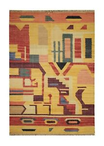Handwoven Abstract Kilim Rug Vibrant Flat Woven Area Rug- 127x180cm