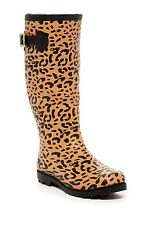 NIB $89 Betsey Johnson Drizle Rubber Rainboot Leopard Multi Boots Size 9