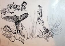 1992 Book page design ink drawing Alice in Wonderland