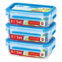 Emsa Clip & Close 3er Set Frischhaltedosen, Brotdose, Frischhaltebox, 508570
