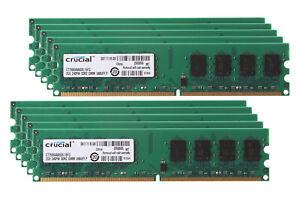Lot Crucial 8GB 4GB 2GB 2Rx8 PC2-6400U DDR2 800MHz CL6 DIMM Desktop Memory RAM