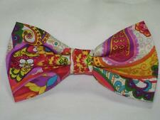 (1) PRE-TIED BOW TIE - VIBRANT PAISLEY - PINK, PURPLE, RED, BLUE, GREEN & YELLOW