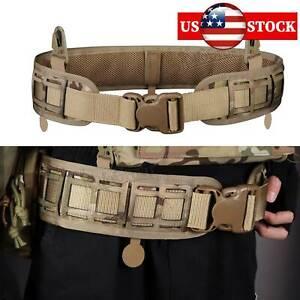 MOLLE Tactical Waist Belt Military Soft Padded Patrol Combat Battle Web Belt CP