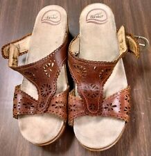 Dansko Laser Cut Out Leather Sandals - Size 40 (9.5 - 10 US) Open Toe Wedge