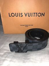 Authentic Louis Vuitton Men's Belt Damier Graphite LV Initials Black 90/60 M9808