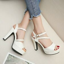Fashion Women's Slingback High Heels Ankle Strap Platform Sandals Peep Toe Shoes