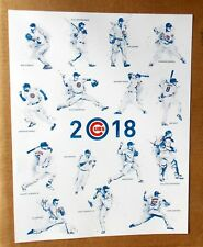 """2018 Chicago Cubs Baseball -- TEAM ROSTER -- 15 PLAYERS -- 11"""" x 14"""" POSTER"""