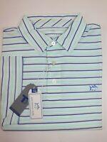 NWT $85 SOUTHERN TIDE Size L Men's S/S White Blue Stripe T3 Performance Polo