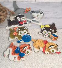 Vtg Kitty Cat Mommy Cat Kittens Nursery Wall Kids Decor Kitsch