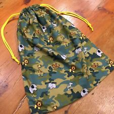 Camouflage Green Library Bag, Toy/Sports Bag, Large Drawstring 45cm x 35cm