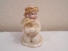 "Resin Snow Angel Kneeling On A Cloud Holding A Bunny Rabbit Figurine ~ 3"" Tall"