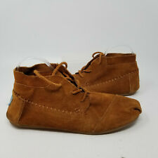 Toms Brown Fabric Flat Lace Up Chukka Slip On Walking Shoes Women Size 10