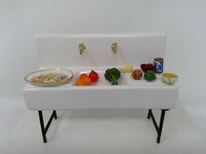 OOAK Dollhouse Miniature Porcelain Farm Sink With Accents 1:12 Scale