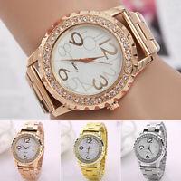 Women's Men's Crystal Rhinestone Stainless Steel Analog Quartz Wrist Watch Mgic