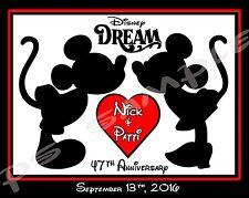 5x7 CUSTOM Disney Cruise Magnet - MICKEY & MINNIE KISSING - anniversary, wedding