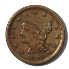 USA Large Cent Braided Hair 1c 1849  Extra Fine Newcomb 20