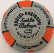 MALAGA, SPAIN SIEBLA MALAGA HARLEY DAVIDSON POKER CHIP (GRAY & ORANGE)
