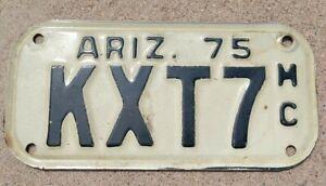 Vintage Arizona AZ Antique Motorcycle License Plate 1975 Ariz. KXT7 Shovelhead