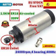 【ES】1.5KW 220V ER16 24000rpm Air Cooled CNC Spindle Motor 80mm 400HZ Milling