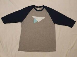 Loot Crate Retro T-shirt Paper Plane Graphic Design Blue/Grey NEW
