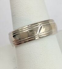 14K White Gold 6.75mm Mens Wedding Band Ring Size 9.75 9.3 Grams