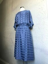 80's Vintage I. Magnin Silk Charmeuse Satin Stripe Dress small