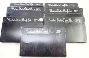 Lot of 7 United States Proof Coin Sets W/Orig Cases 1973-1979